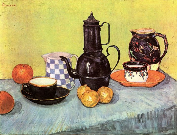 Still Life Blue Enamel Coffeepot, Earthenware and Fruit 1888